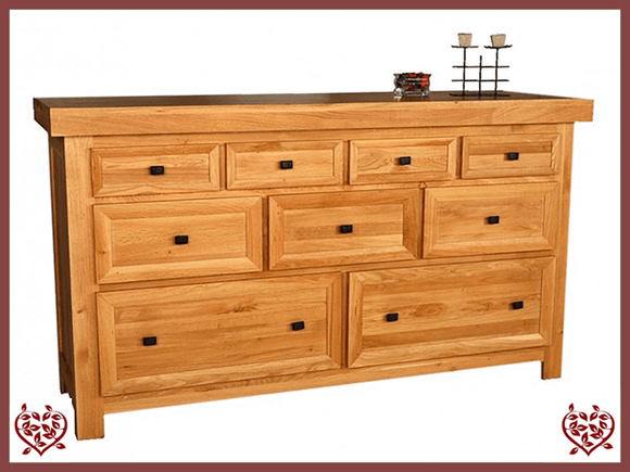 AUBUSSON 9 DRAWER OAK CHEST