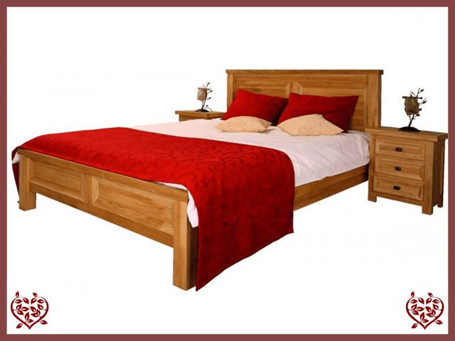 AUBUSSON 5FT KING SIZE OAK BED (LOW FOOTBOARD)