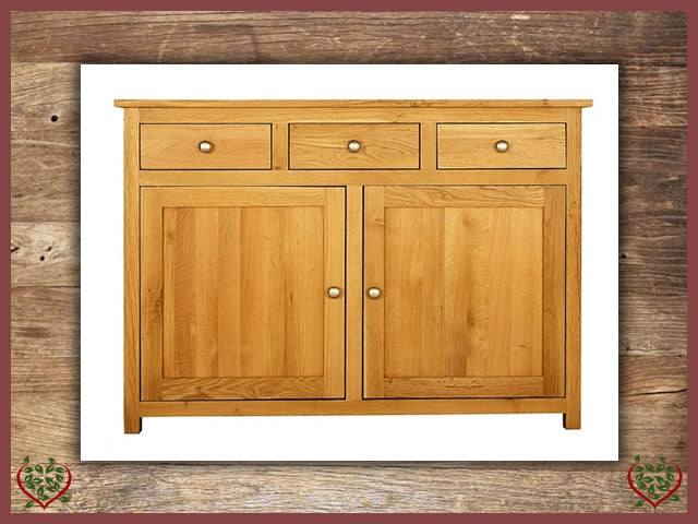 ELEGANCE OAK SIDEBOARD 2 DOORS/3 DRAWERS | Paul Martyn Furniture UK