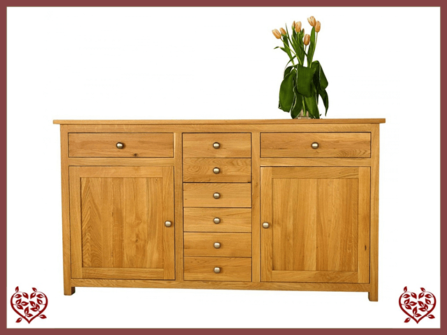 ELEGANCE OAK SIDEBOARD, 2 DOORS/8 DRAWERS