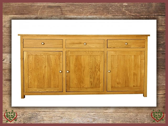 ELEGANCE OAK SIDEBOARD, 3 DOORS/3 DRAWERS | Paul Martyn Furniture UK