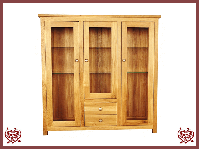 ELEGANCE OAK DISPLAY CABINET 3 DOORS/2 DRAWERS | Paul Martyn Furniture UK