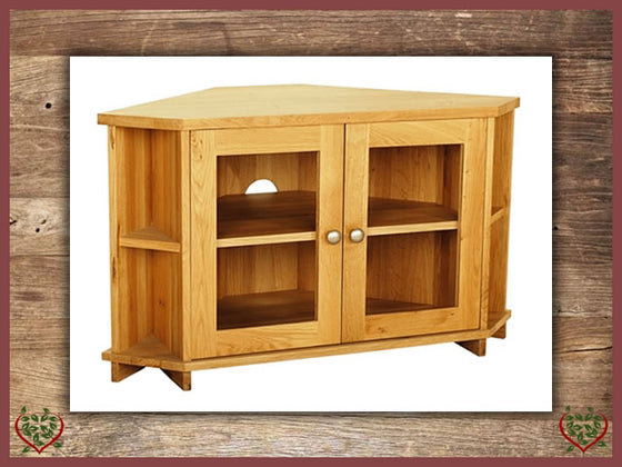 ELEGANCE OAK CORNER TV CABINET – 2 DOORS | Paul Martyn Furniture UK