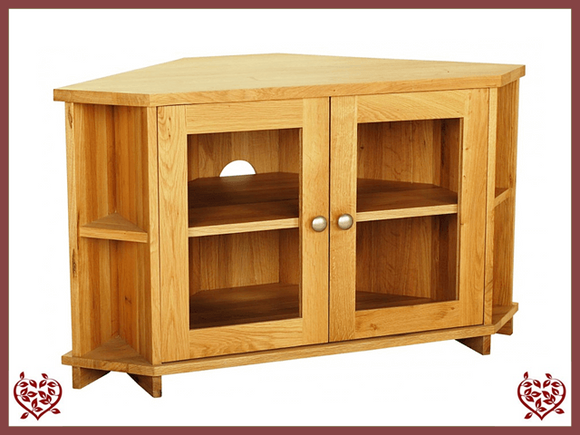 ELEGANCE OAK CORNER TV CABINET – 2 DOORS - paul-martyn-furniture