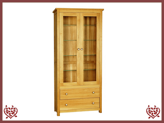 ELEGANCE OAK DISPLAY CABINET 2 DOORS/2 DRAWERS