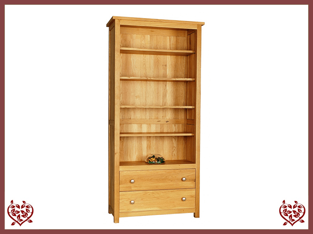 ELEGANCE OAK BOOKCASE 2 DRAWERS - paul-martyn-furniture