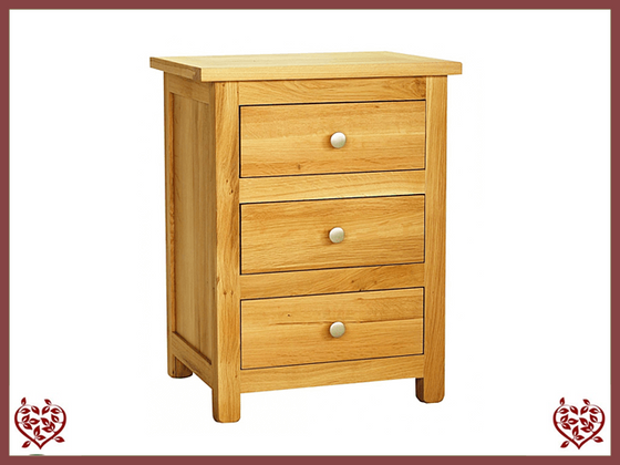ELEGANCE OAK BEDSIDE CABINET 3 DRAWERS - paul-martyn-furniture