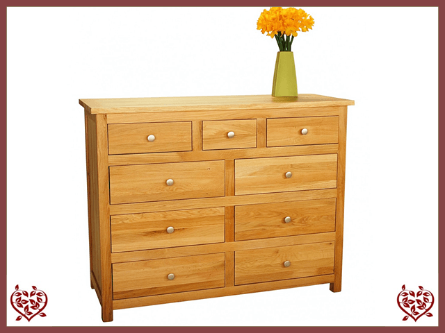 ELEGANCE OAK CHEST – 9 DRAWERS | Paul Martyn Furniture UK