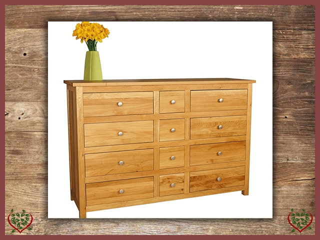 ELEGANCE OAK CHEST – 12 DRAWERS | Paul Martyn Furniture UK