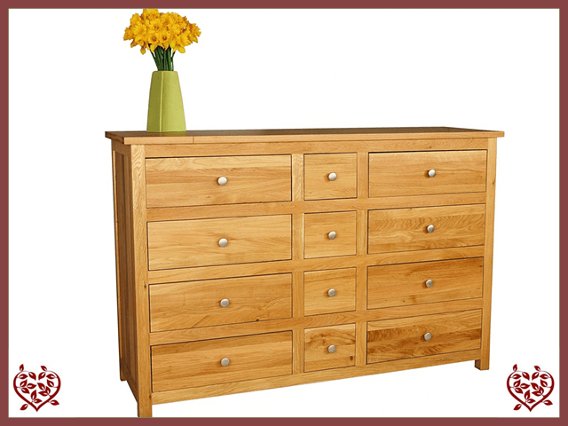 ELEGANCE OAK CHEST – 12 DRAWERS