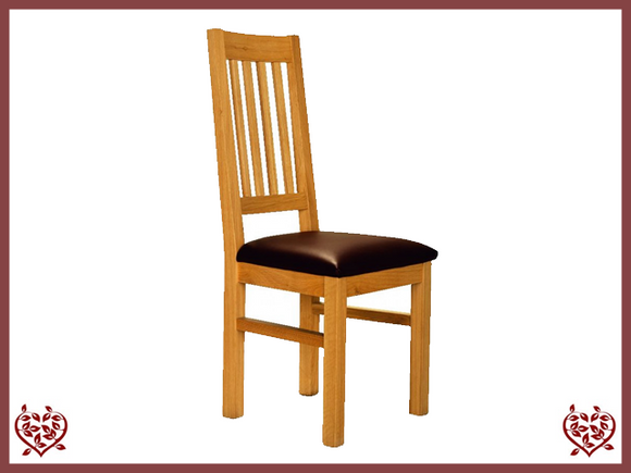 ELEGANCE OAK DINING CHAIR – LEATHER SEAT - paul-martyn-furniture