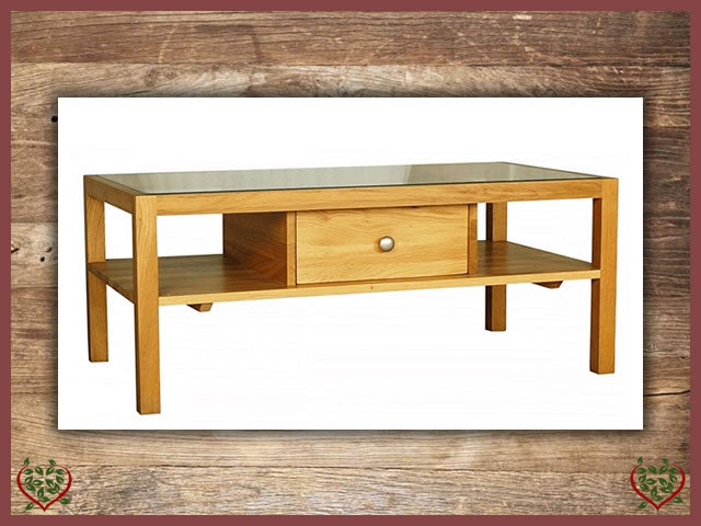 ELEGANCE OAK COFFEE TABLE 1 DRAWER, GLASS TOP | Paul Martyn Furniture UK