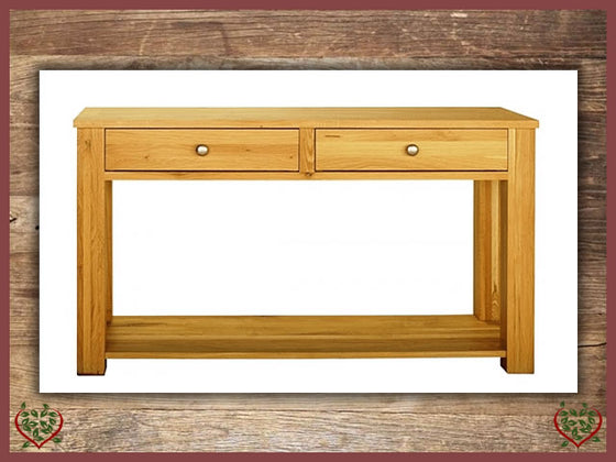 ELEGANCE OAK HALL TABLE 2 DRAWERS Paul Martyn Furniture UK