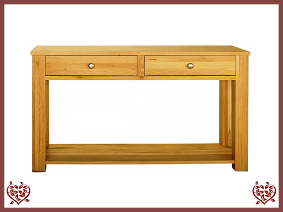 ELEGANCE OAK HALL TABLE 2 DRAWERS