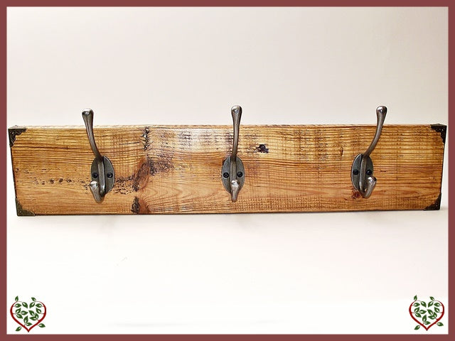 3 COAT HOOKS ON RECLAIMED TIMBER BACKING | Hooks