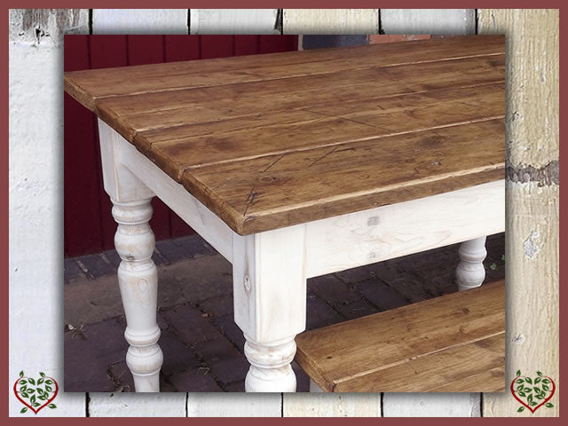 SHABBY CHIC RECLAIMED PINE FARMHOUSE TABLE | Paul Martyn Furniture UK