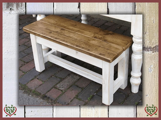 SHABBY CHIC RECLAIMED PINE FARMHOUSE BENCH | Paul Martyn Furniture UK