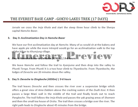 Trekking Itinerary for Everest Base Camp to Gokyo Lakes by Ranjan Pal For GoPo