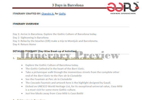 Get a 3 Day trip plan to Barcelona by travel blogger Chandni on GoPo