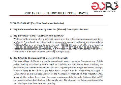 Trek Itinerary Plan for a eight day trek across the foothills of Annapurna by Ranjan Pal & South Col Expeditions for GoPo
