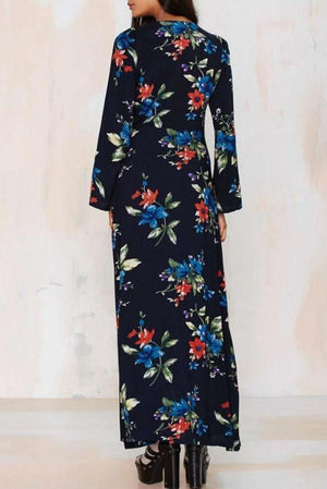 Dress Chiffon Patchwork Printed Long Sleeved Belting Long Dress