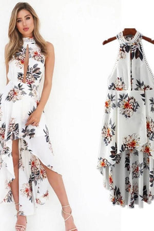Dress Halter Design Open Back Sexy Slit Loose Dress