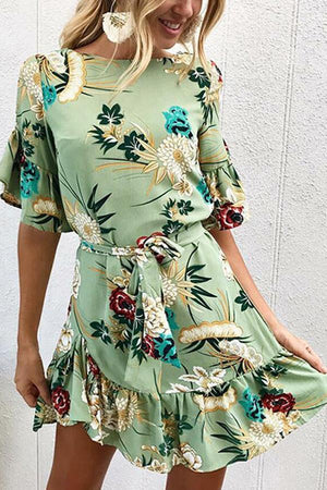 Dress L / green Pavacat Round Neck Tie Waist Floral Ruched Dress
