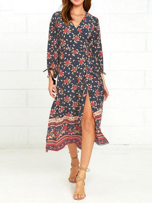 Dress L / multicolor Printing Flower Slit Surplice Long Sleeve Dress