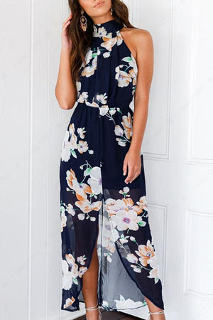 Dress L / Navy Pavacat Open Back Sleeveless Floral Thigh Split Dress