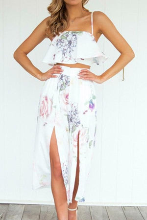 Dress L / white Pavacat Spaghetti Strap Thigh Split Suit Top And Skirt