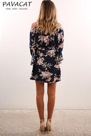 Dress Pavacat Floral Off Shoulder Elastic Waist Dress