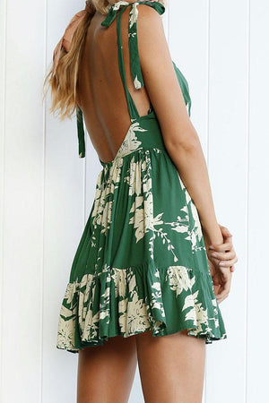 Dress Pavacat Green Floral Printed Mini Dress