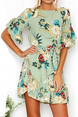 Dress Pavacat Round Neck Tie Waist Floral Ruched Dress