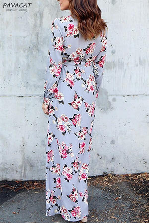 Dress Pavacat Stylish Floral Print Deep V Neck Maxi Dress