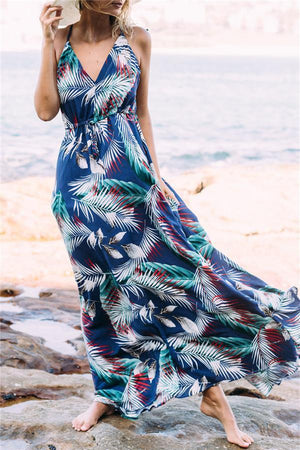 Dress Pavacat V Neck Floral Print Chiffon Maxi Dress