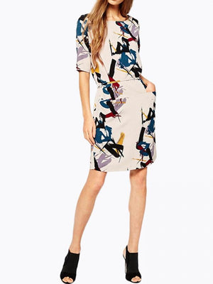 Dress Printing Flower Slim Belt Short Sleeve Dress