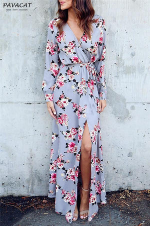 Dress S / Lightgray Pavacat Stylish Floral Print Deep V Neck Maxi Dress
