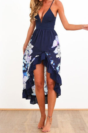 Dress S / Navy Pavacat Floral Printed Braced Midi Dress