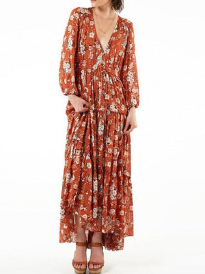 Dress Surplice Printing Flower Slit Long Sleeve Dress