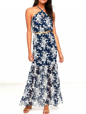 Dress Vacation Halter Printing Flower Long Dress