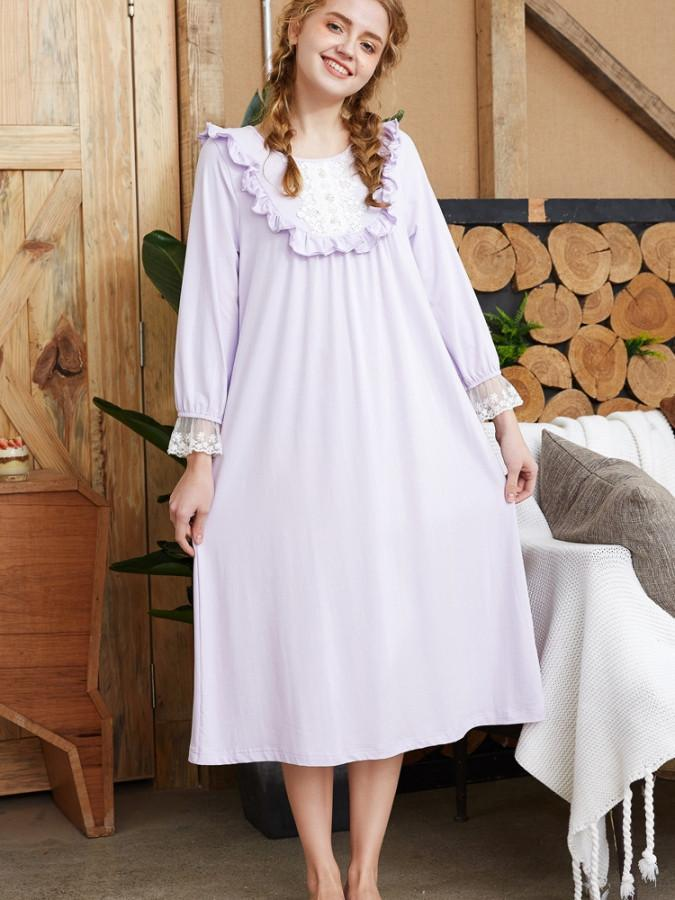 Pavacat Pure Cotton Pure Color Cute Nightgowns