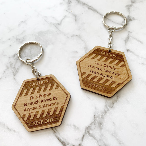 Construction/tradie/caution keychain - Personalised Father's Day gift
