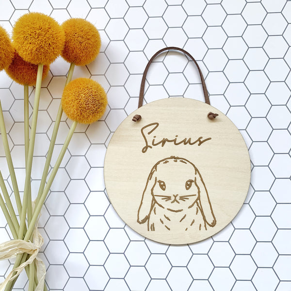 Timber name plaque - Bunny rabbit