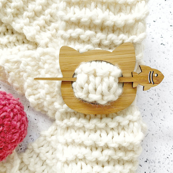 Bamboo / wooden shawl pin - cat & fish
