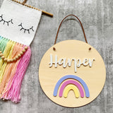 Rainbow timber name plaque / sign
