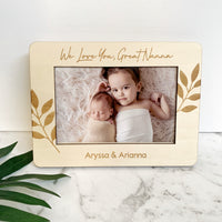 Personalised wooden photo frame - Leaves design
