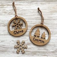 Personalised Christmas tree hoop ornament