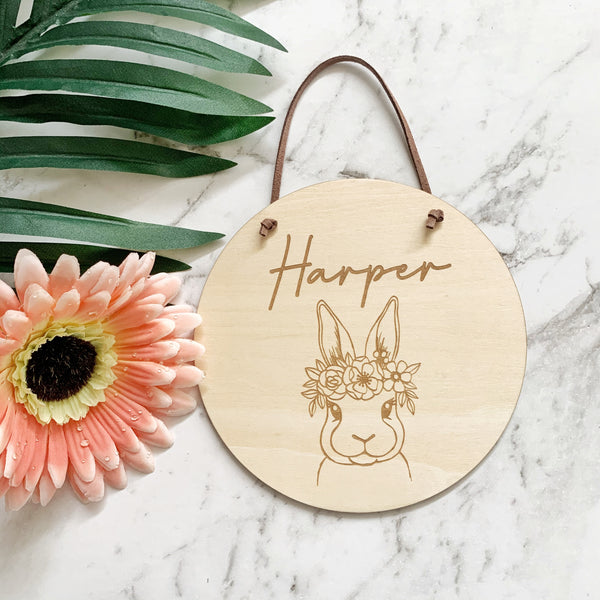 Timber name plaque - Bunny with flower crown