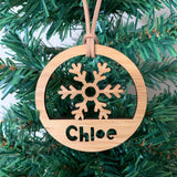 Personalised snowflake Christmas ring ornament