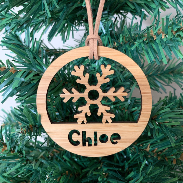 Personalised snowflake hoop Christmas ornament